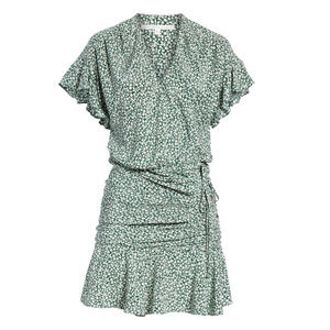 VERONICA BEARD Marla Tie Ruched Silk Dress Size 10